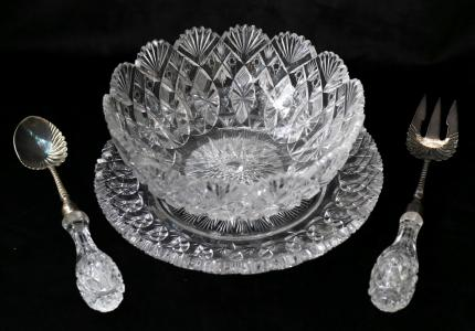 Extremely Rare Hoare? Cut Glass Salad Set