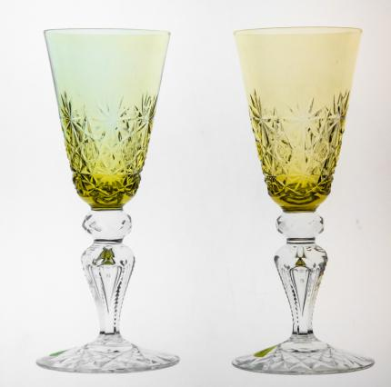 Exceptional Amber Cut to Clear Champagne Flutes Straus?
