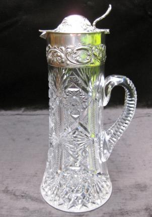 Classy Dorflinger Cut Glass Claret Jug with Sterling Top – SOLD