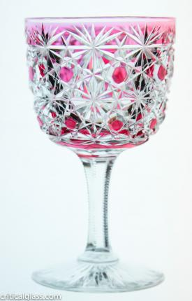 Russian Cranberry Cut to Clear Wine Glasses