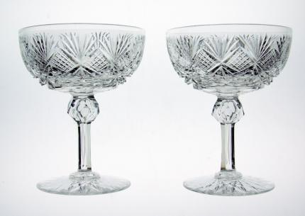 Hawkes or Dorflinger Cobweb Champagne Stems