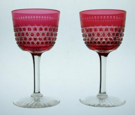 Pair of Cranberry Cut to Clear Wine Stems