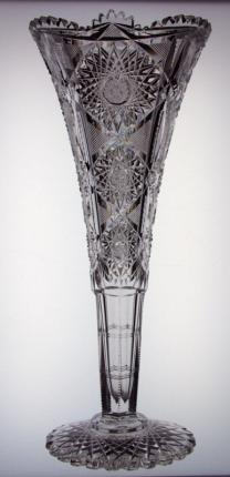Tall Acme Pattern Trumpet Vase by J. Hoare
