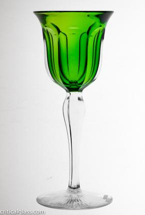 Hawkes Cased Green Fluted Aperitif Stems