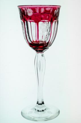 Steuben Cranberry Cut To Clear Engraved Rhine Wine