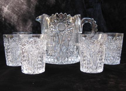 Handsome Libbey Pitcher and Tumbler Set