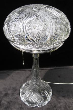Towering 22 1/2″ Chicago Cut Glass Table Lamp – SOLD