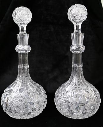 Spectacular Pair of Clark Mercedes Decanters