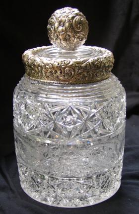 Spectacular Dorflinger Silver Lidded Jar – SOLD