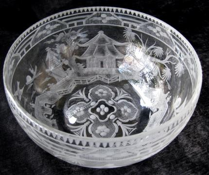 Extremely Rare Hawkes Bowl with Asian Scene – SOLD